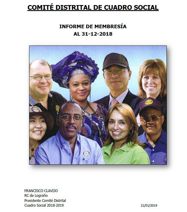 Informe de membresía - Comité Distrital de Cuadro Social
