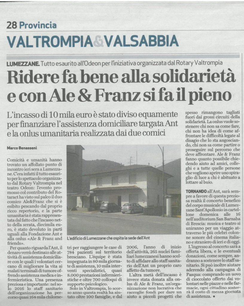 Dal Bresciaoggi del 31 marzo 2017