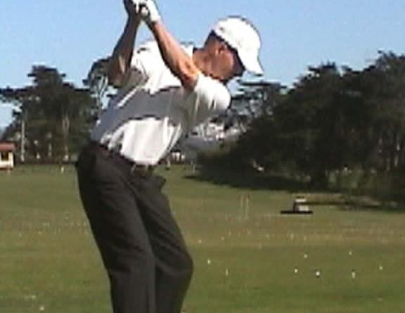 right leg loaded in golf transition