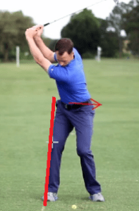 Maintaining the trailing hip line will ensure there is no reverse pivot in the swing