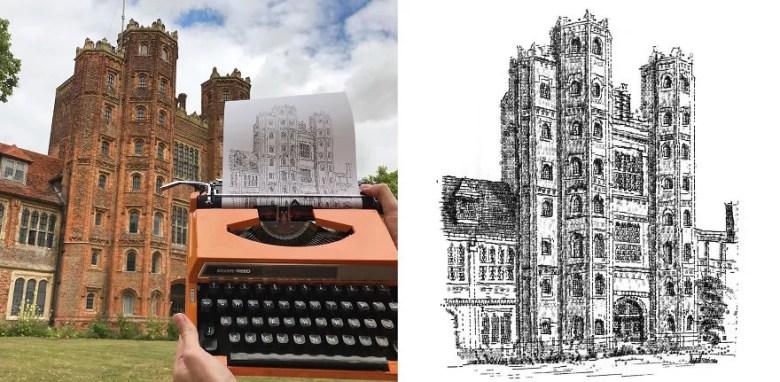 Artista desenha com máquina de escrever
