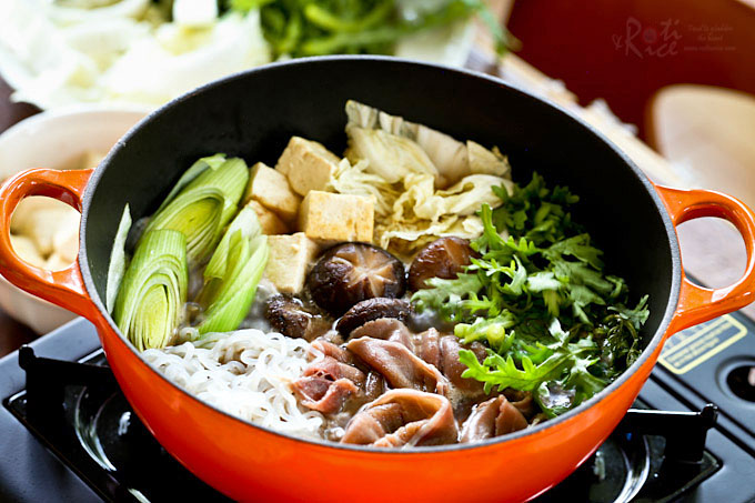 Enjoy Sukiyaki, a popular Japanese Beef Hot Pot often cooked and served at the table, in the comfort of your own home. Especially satisfying on cooler days.  RotiNRice.com