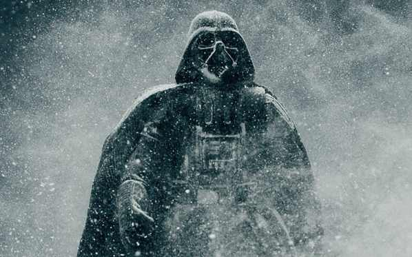 Darth Vader walking through a cloud of snow.