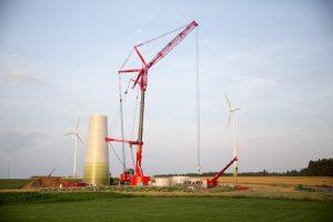 Errichtung einer neuen Windkraftanlage in Nordhessen. ©