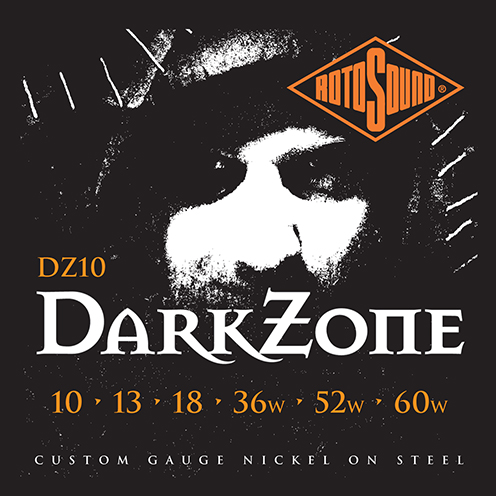 DZ10 Rotosound Roto Darkzone Dark Zone DZ 10 Nickel regular Light Top Heavy Bottom Hybrid Gauge Electric Guitar Strings giutar guage stings srings rock palm muting 60 drop tuning