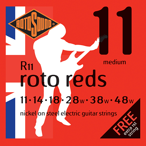 r11 Rotosound Roto nickel wound electric guitar strings. Best quality affordable giutar string for rock pop country metal funk blues