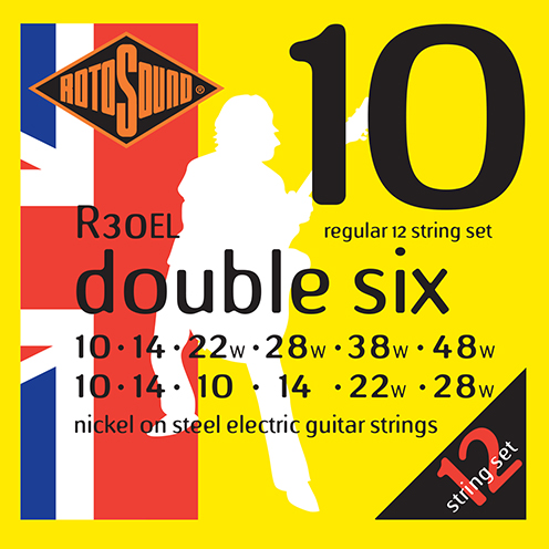 r30el 12 string regular gauge Rotosound Roto nickel wound electric guitar strings. Best quality affordable giutar string for rock pop country metal funk blues