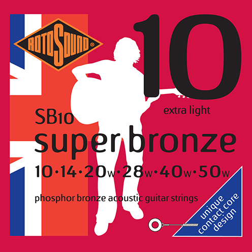 sb10 Rotosound Super Bronze contact core acoustic phosphor bronze guitar strings long life piano string design psd country gold flattop string