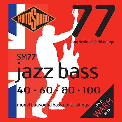 Rotosound SM77 Jazz Bass strings. Steel Monel nickel flatwound round wound jazzbass bass wire precision jazz Rickenbacker 4003 John Entwistle bajo guitare rock jazz standard gauge regular warm full