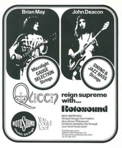Rotosound strings Queen Ad advert 1975 Brian May John Deacon Starfire Gauge Selection guitar giutar bass swingbass jazz 77