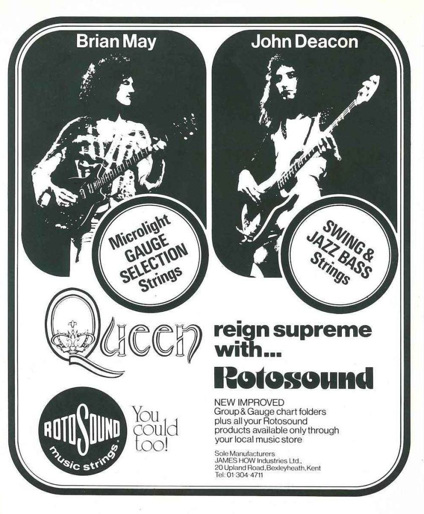Rotosound strings Queen Ad advert 1975 Brian May John Deacon Starfire Gauge Selection guitar giutar bass swingbass jazz 77