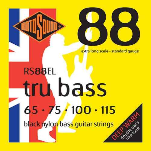 RS88EL Rotosound Tru Bass guitar strings black nylon yellow silk double doublebass tone sound paul mccartney low tension fretless dub reggae