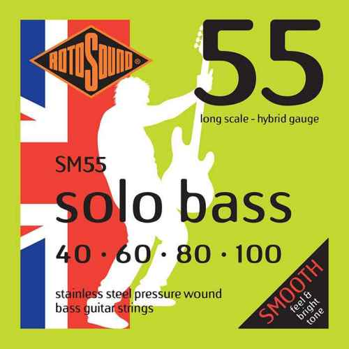 SM55 Rotosound SM 55 Solo Bass strings. Pressure wound pressurewound Steel roundwound round wound swingbass bass wire precision jazz Rickenbacker 4003 bajo guitare rock metal standard gauge regular bright