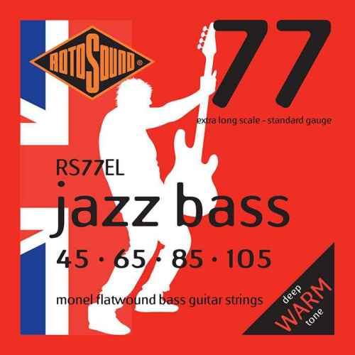 Rotosound RS77 extra long scale RS77EL EL Jazz Bass strings. Steel Monel nickel flatwound round wound jazzbass bass wire precision jazz Rickenbacker 4003 John Entwistle bajo guitare rock jazz standard gauge regular warm full standard gauge guage