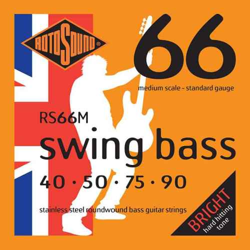 RS66M Rotosound RS66 M Swing Bass medium scale bas guitar strings. Steel roundwound round wound swingbass bass wire precision jazz Rickenbacker 4003 John Entwistle bajo guitare rock metal standard gauge regular bright