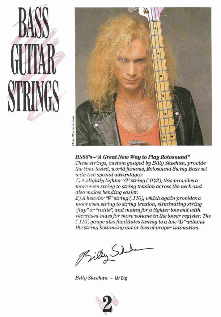 Billy Sheehan introduction to Rotosound catalogue 1989