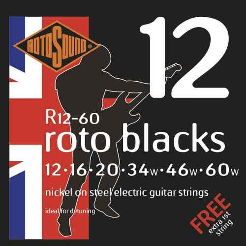 R12-60 Rotosound drop tuning heavy string set Roto nickel wound electric guitar strings. Best quality affordable giutar string for rock pop country metal funk blues