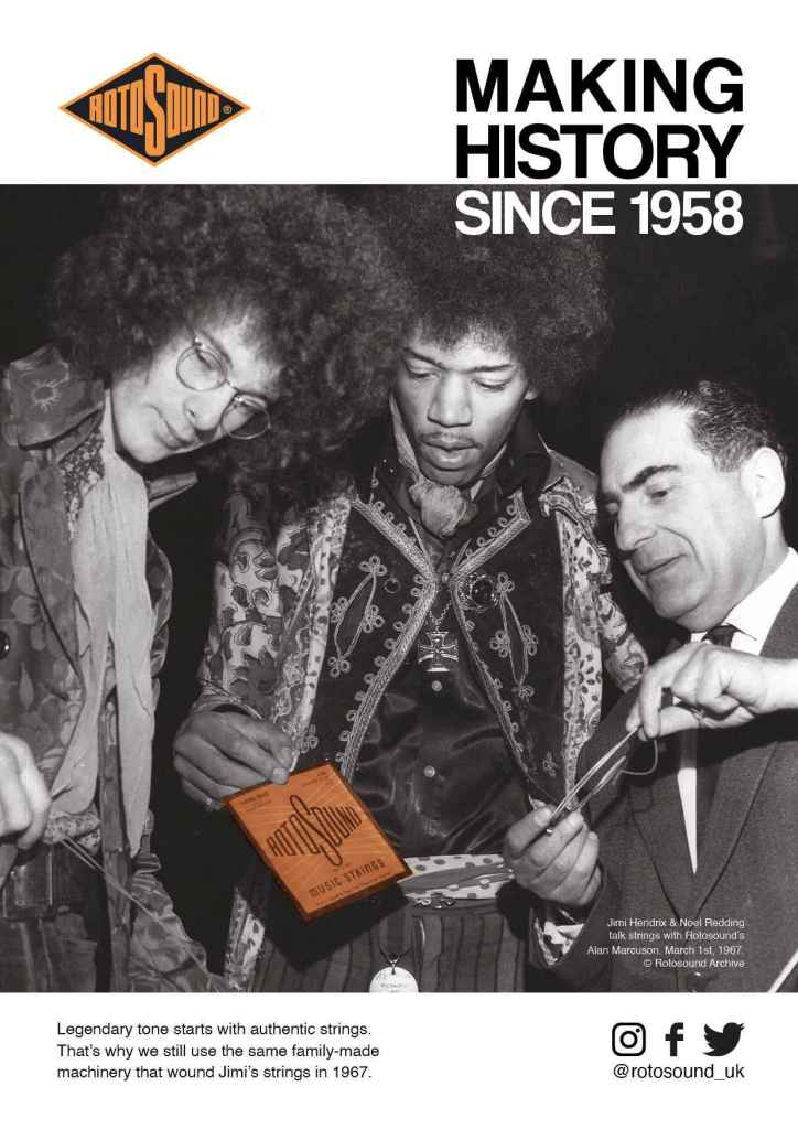 Rotosound Making History Advert Design Jimi Hendrix Noel Redding British Steel Swing Bass 66 bass guitar strings iconic legendary guitarist bassist advertising campaign