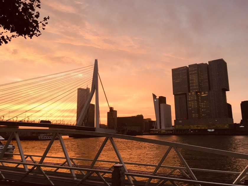 Rotterdam Daily Photo: Sunrise over the Erasmusbrug, the Rotterdam and the river Maas