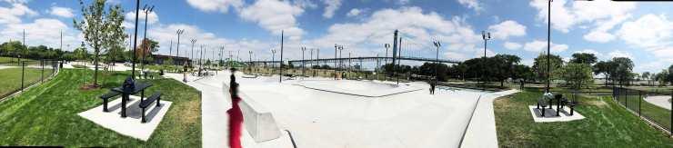 Riverside Park Skate Park, Detroit River, Ambassador Bridge
