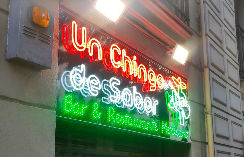 neón bombillas led restaurante