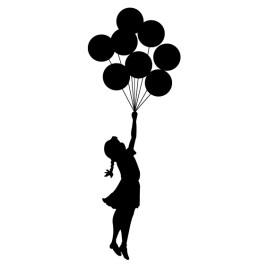 Niña volando con globos Banksy