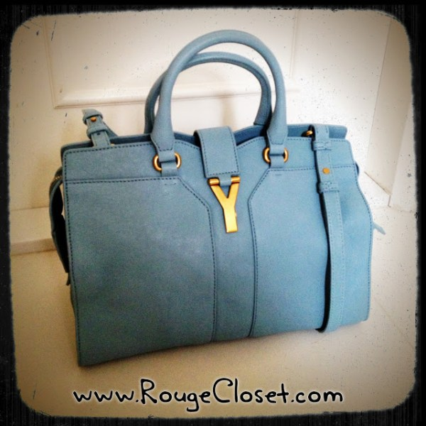 SAINT LAURENT Mini Cabas Chyc in Sky Blue