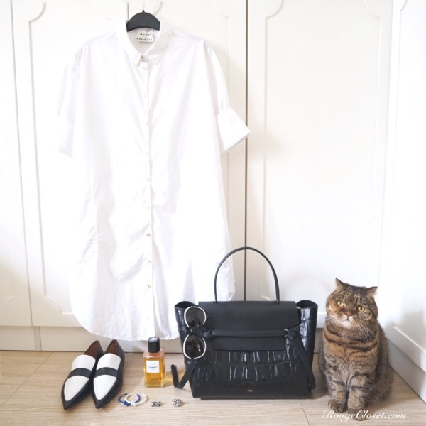 Stylebook: Perfect Shirtdress, Acne Studios, Acne Studios Lash Tech Cotton Shirtdress, Celine, Celine Belt bag, Celine Knot Bracelet, Celine Loafer, CHANEL, Chanel sunglasses, Les Exclusifs de Chanel, Stylist Licqoo, street style, smart casual