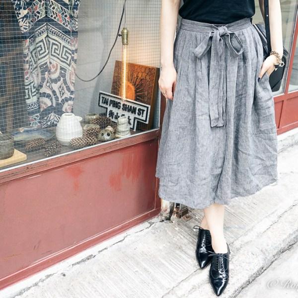 Casual Chic: Midi Skirt with Oxfords, Christian Louboutin Platt Dance Flat Jazz Calf, agnes b skirt, Givenchy shark tooth bracelet, Givenchy bag