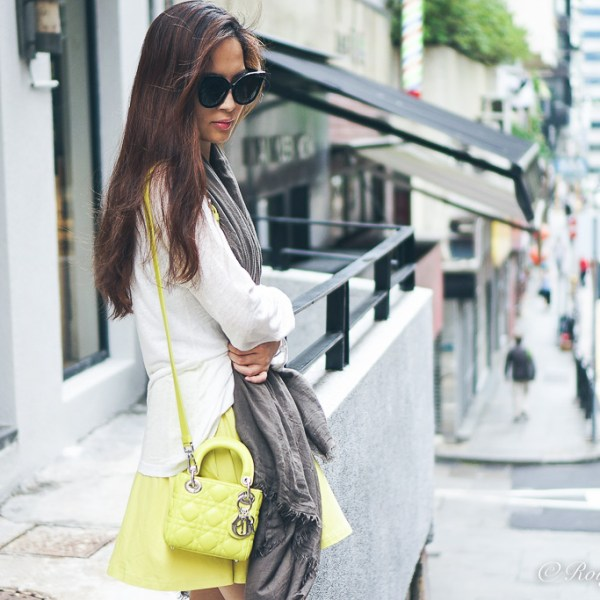 Styling Yellow and Khaki, Micro Lady Dior, Faliero Sarti scarf, agnes b top, asos skirt, street style, casual style