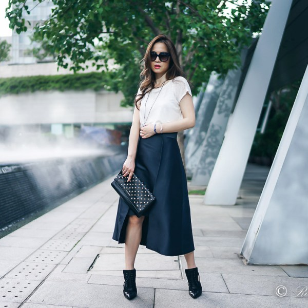 ARIS Navy Structured Midi Skirt