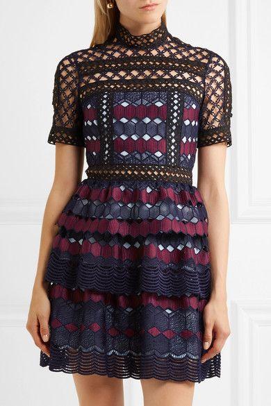 Self-Portrait Ruffled guipure lace mini dress