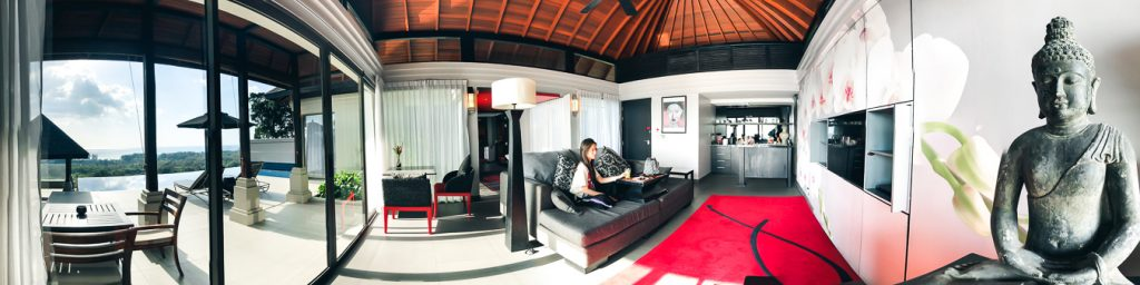 The living room of the Ocean View Pool Villa