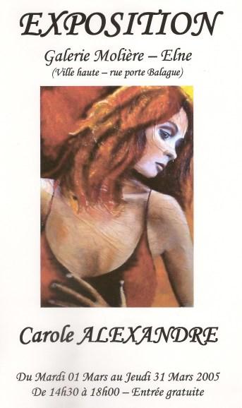 Affiche Exposition de Carole Alexandre à la Galerie Molière à Elne en 2005