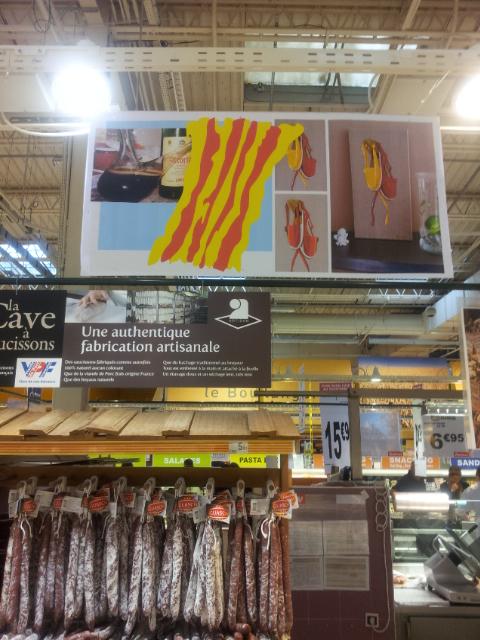 """Affiche rayon charcuterie Auchan Perpignan sur """"les Vigatanes"""" : Tableau de Carole Alexandre"""
