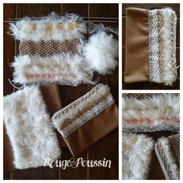 Pochette Hiver mélange de laine, cuir et coton