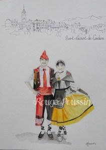 Aquarelle représentant des danseurs catalans de Saint-Laurent-de-Cerdans