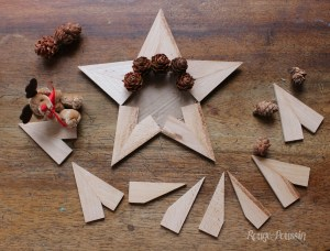 Réaliser une étoile pour Noël avec des clés en bois de châssis et des pignes de pin