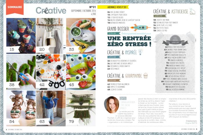 Sommaire du Créative Magazine n°31