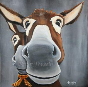 Léogâne : Tableau à l'acrylique de Carole Alexandre représentant le selfie de deux ânes.