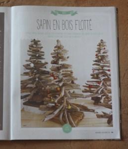 """Page du """"Créative"""" magazine n°33 avec sapin de noël en bois flotté"""