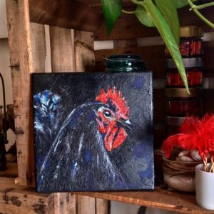 Tableau de Carole Alexandre représentant un coq noir.