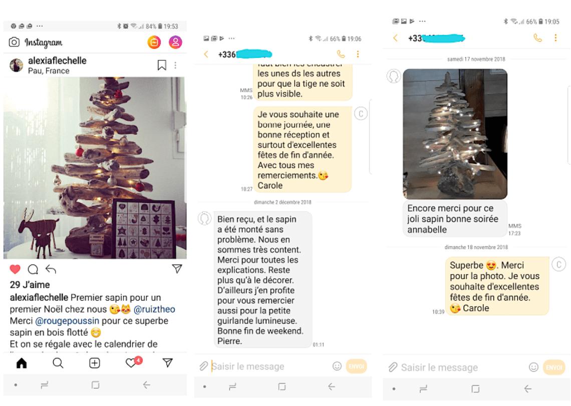 Messages et photos des sapins de noël en bois flotté que les personnes ont acheté chez Rouge Poussin
