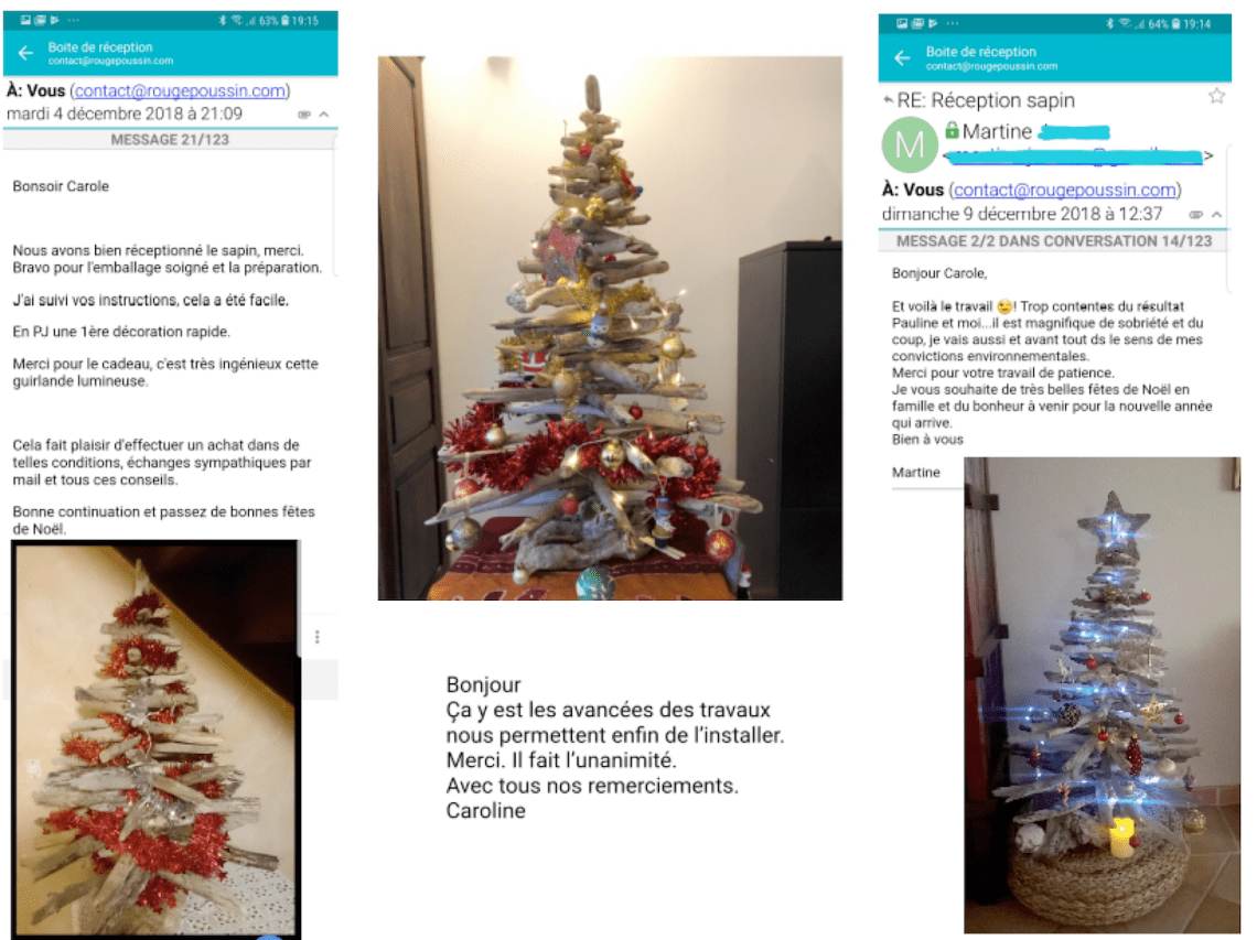 Messages de Clients très contents de leur achat de sapins en bois flotté