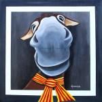 Tableau réalisé à l'acrylique et représentant le selfie d'une ânesse