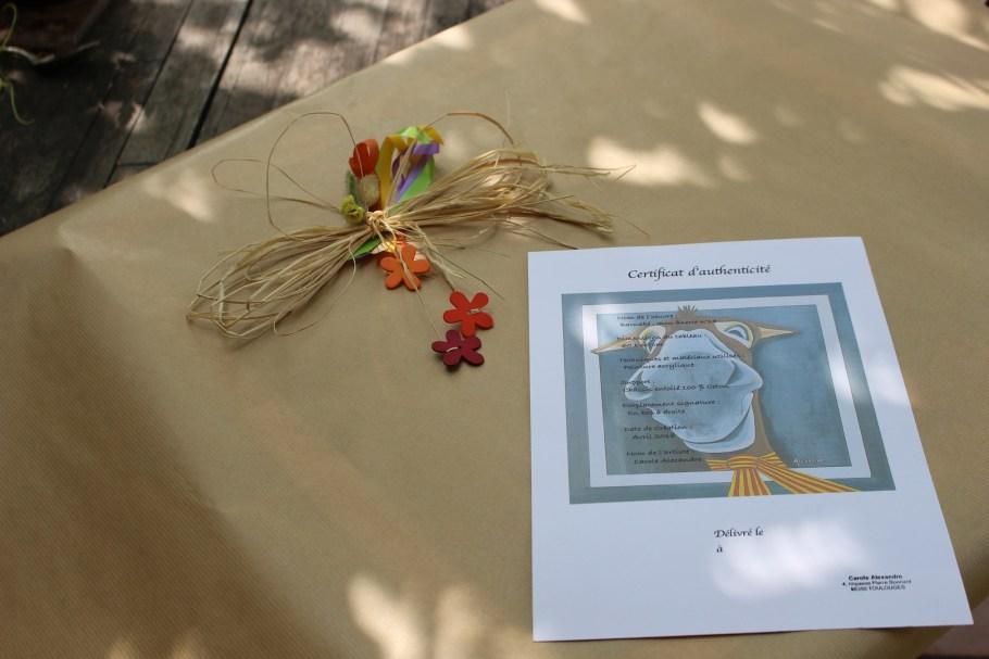 """Préparation du Certificat d'authenticité pour le tableau intitulé """"Barnabé : mon ânerie n° 14"""""""