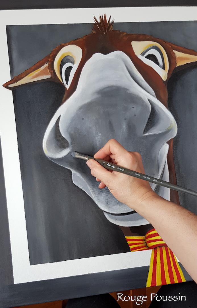 Peinture à l'acrylique sur châssis entoilé représentant le selfie d'un âne catalan.