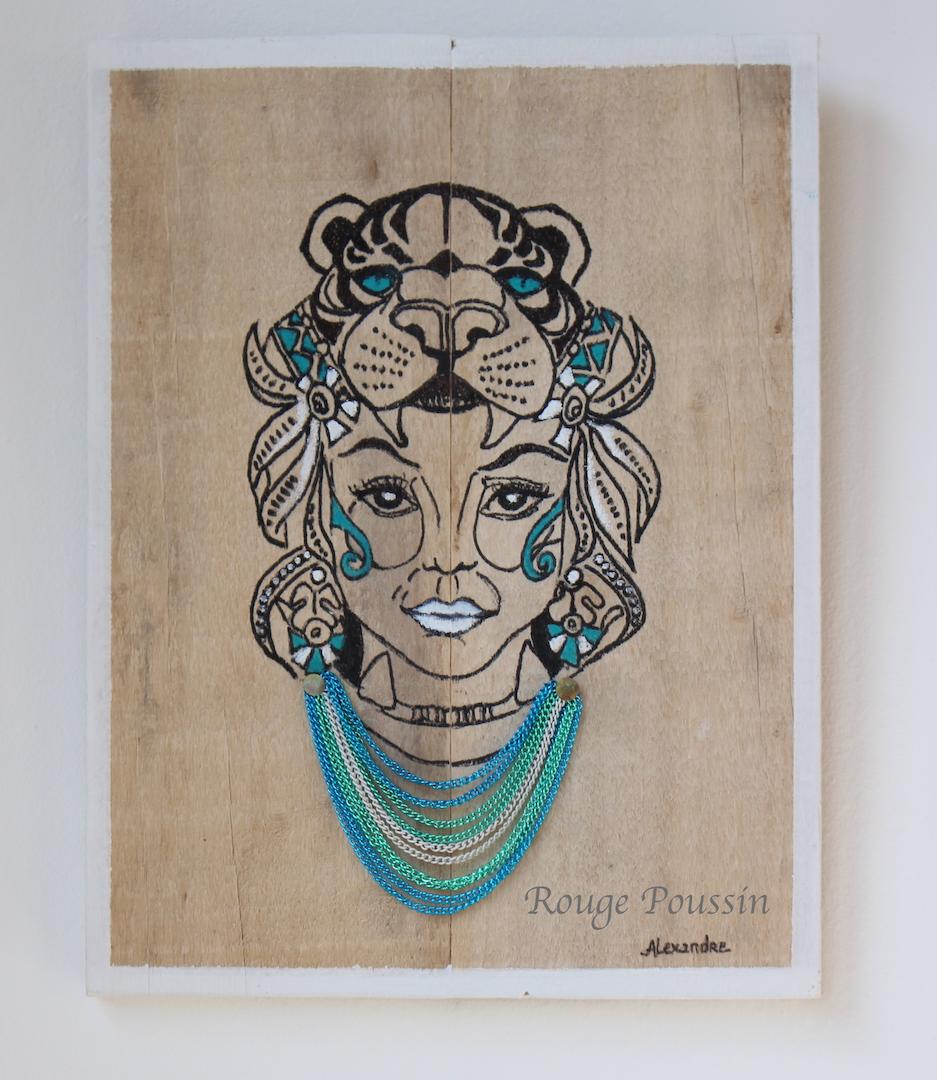 Dessin style tatouage d'un visage de femme sur bois