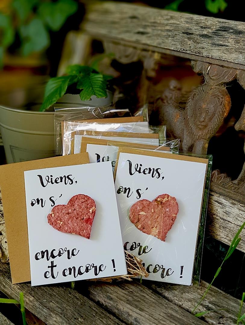 Carte réalisé avec un coeur en papier mâché auquel on a mélangé des graines de fleurs mélifères.