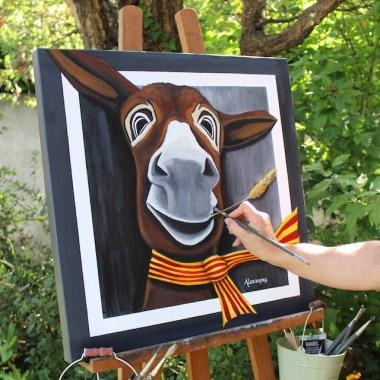 Tableau à l'acrylique du portrait de l'âne Célestin
